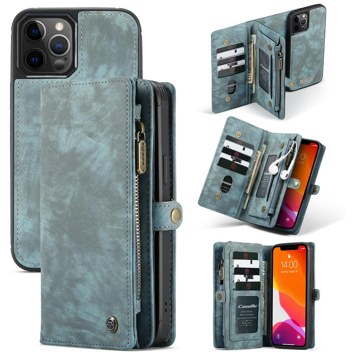 Multi-slot Plånboksfodral iPhone 12/12 Pro blå
