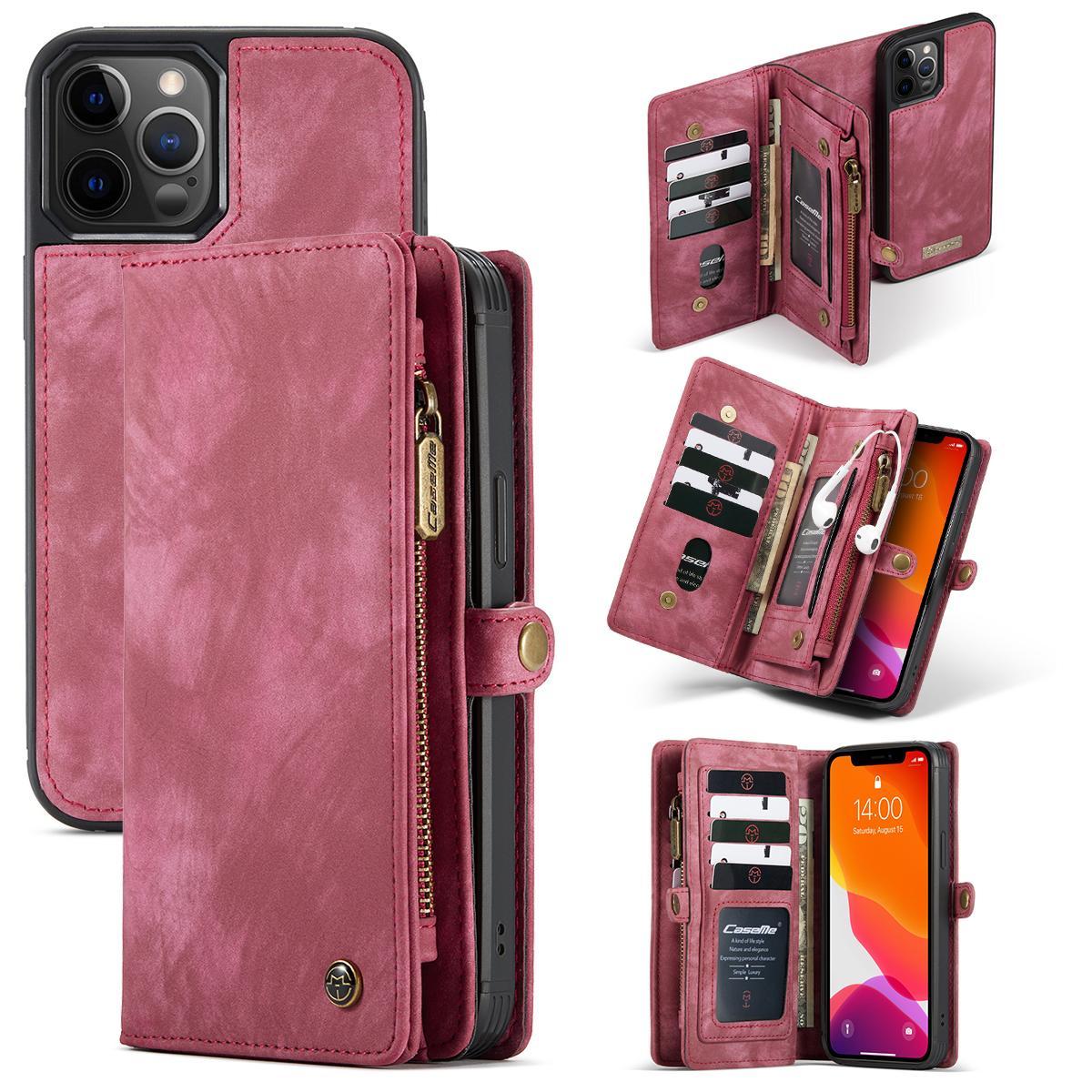 Multi-slot Plånboksfodral iPhone 12/12 Pro röd