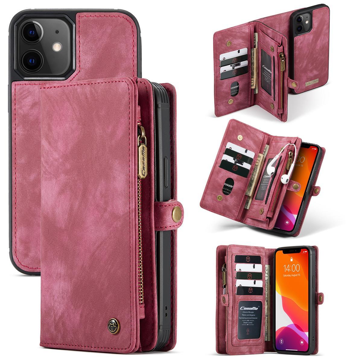 Multi-slot Plånboksfodral iPhone 12 Mini röd