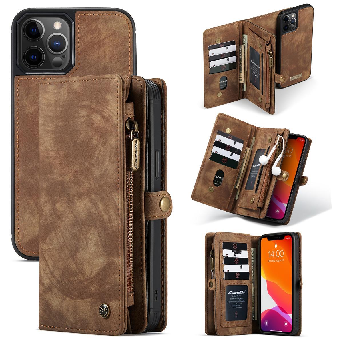 Multi-slot Plånboksfodral iPhone 12 Pro Max brun