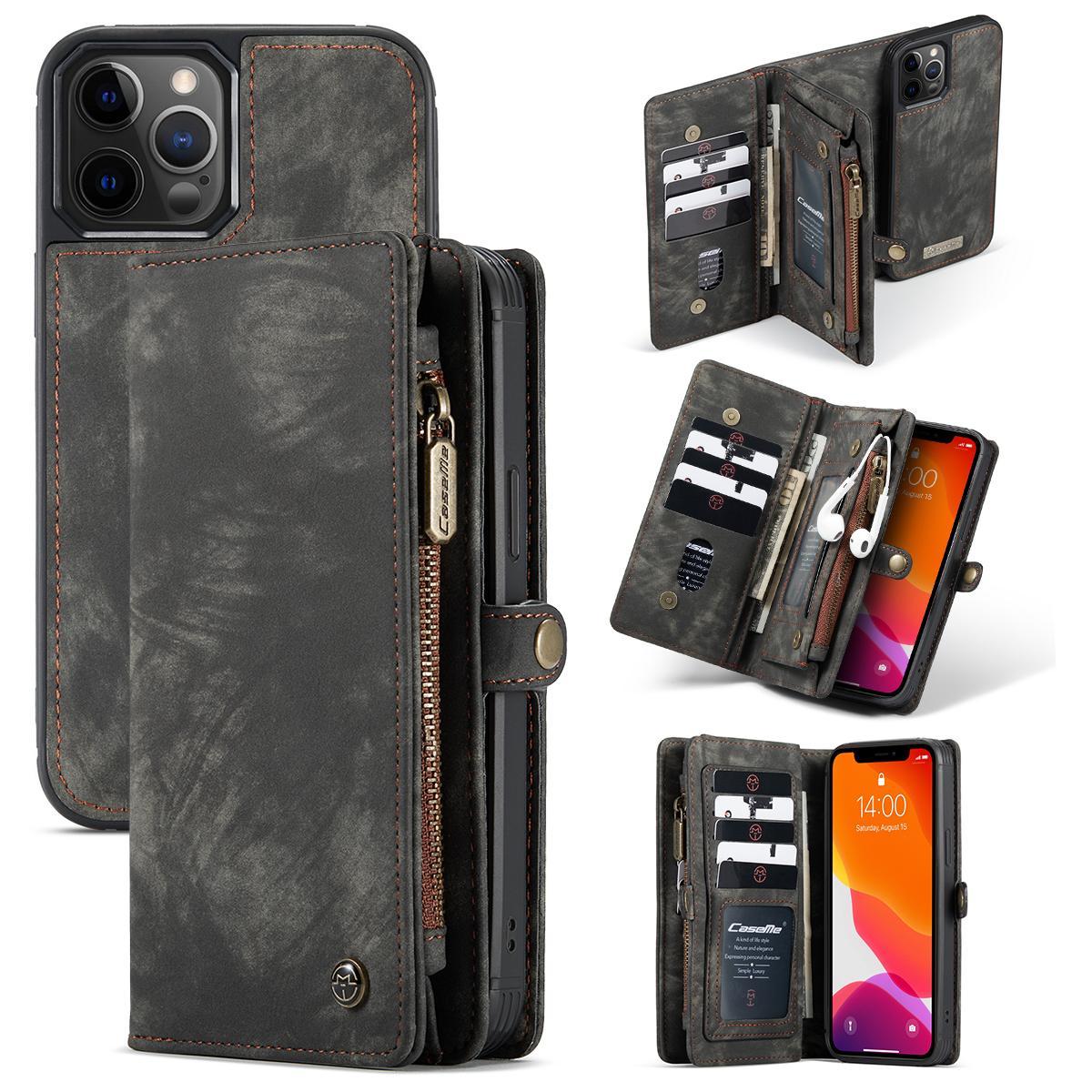 Multi-slot Plånboksfodral iPhone 12 Pro Max grå