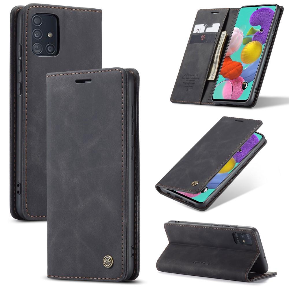 Slim Plånboksfodral Galaxy A51 svart