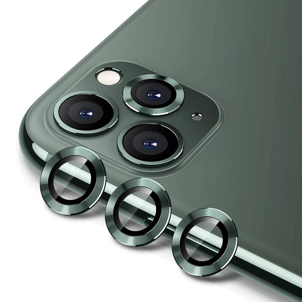 Härdat Glas Linsskydd Aluminium iPhone 11 Pro/11 Pro Max grön