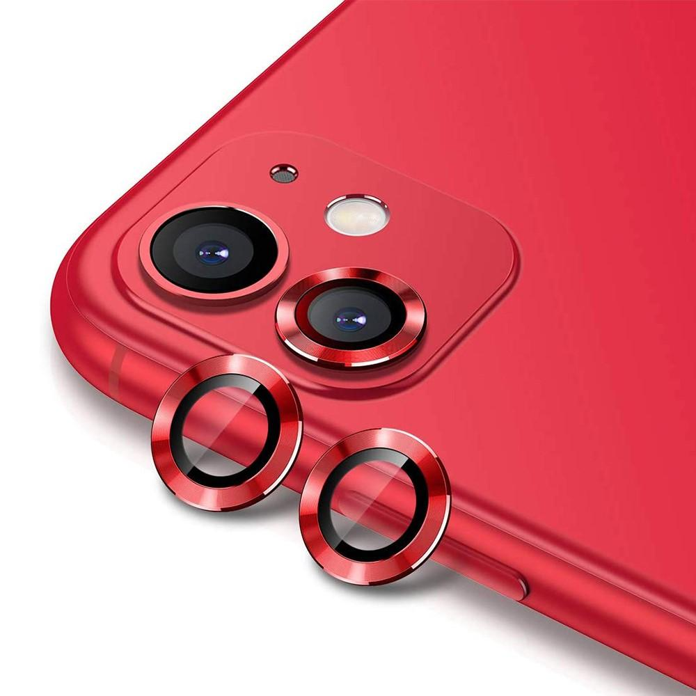 Härdat Glas Linsskydd Aluminium iPhone 11 röd