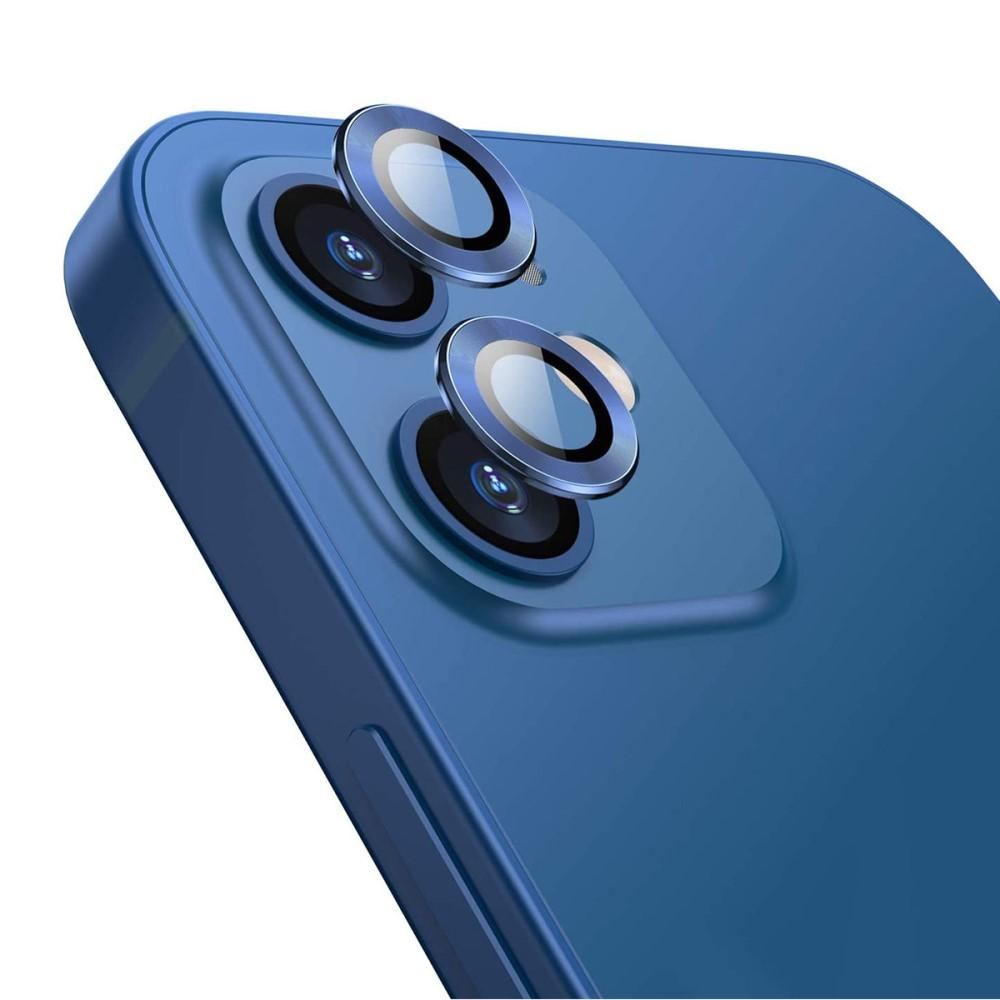 Härdat Glas Linsskydd Aluminium iPhone 12/12 Mini blå
