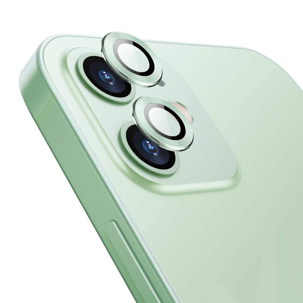 Härdat Glas Linsskydd Aluminium iPhone 12/12 Mini grön