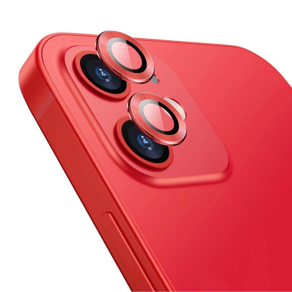 Härdat Glas Linsskydd Aluminium iPhone 12/12 Mini röd