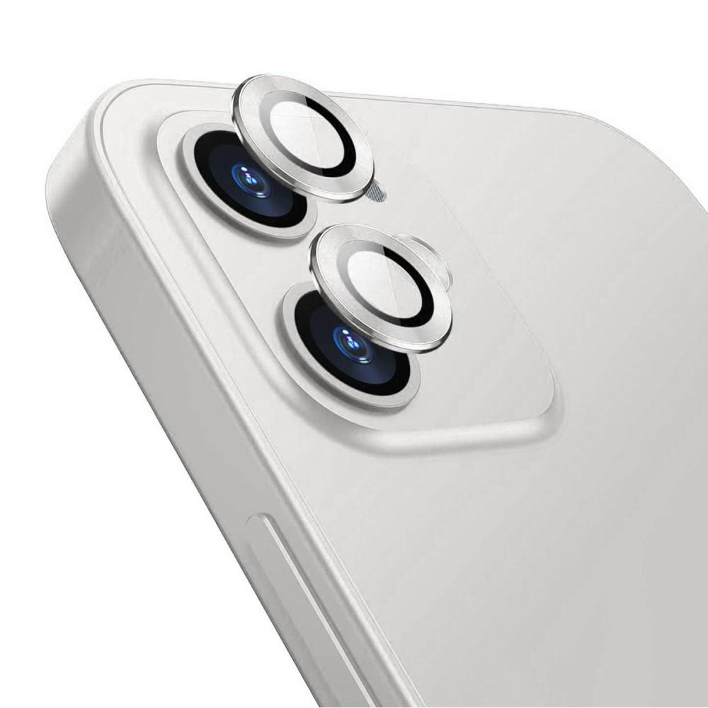 Härdat Glas Linsskydd Aluminium iPhone 12/12 Mini silver