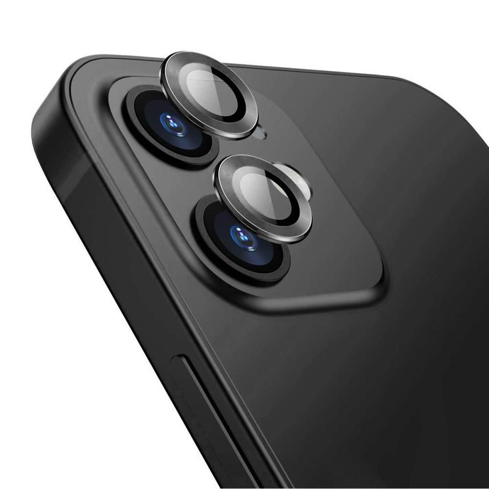 Härdat Glas Linsskydd Aluminium iPhone 12/12 Mini svart