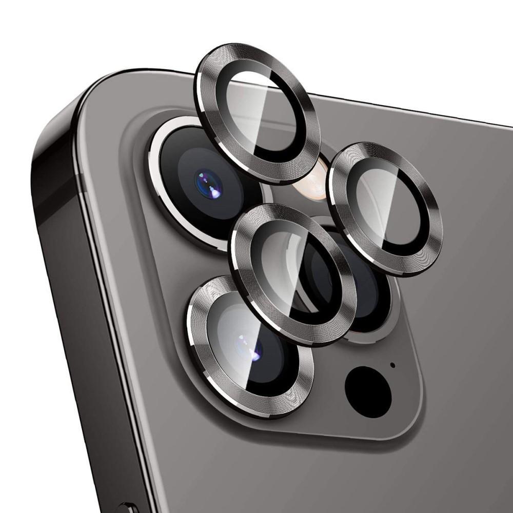 Härdat Glas Linsskydd Aluminium iPhone 12 Pro svart