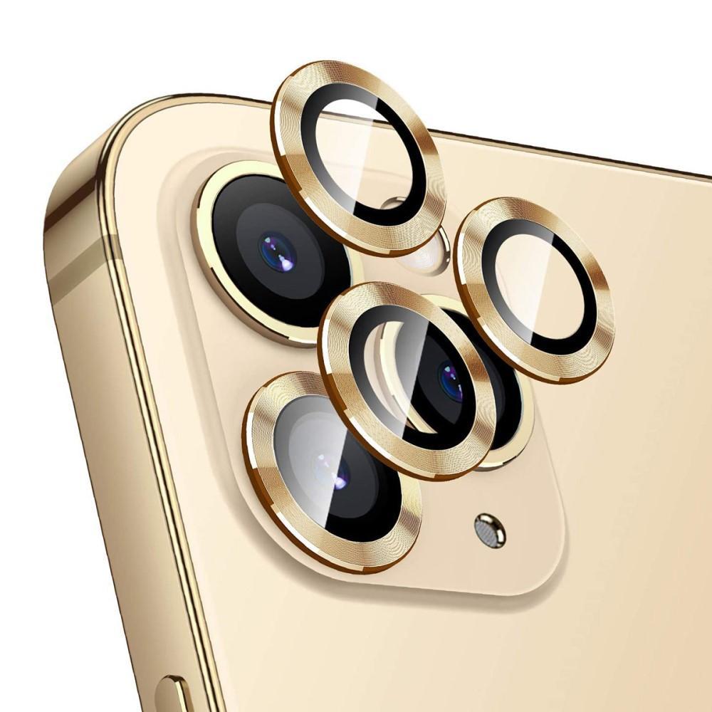 Härdat Glas Linsskydd Aluminium iPhone 12 Pro guld