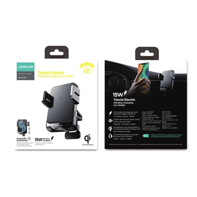 JR-ZS219 Vent Car Mount Wireless Charger Black