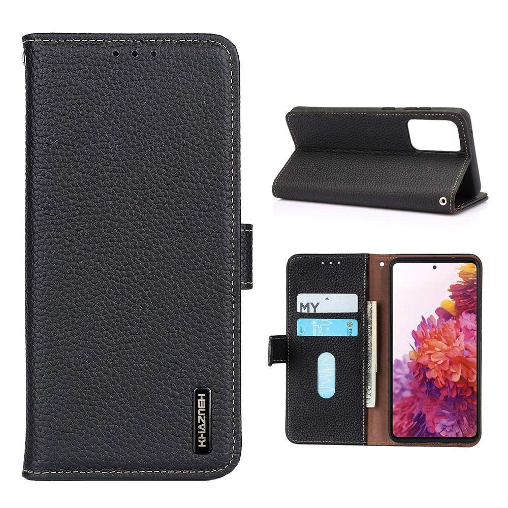Real Leather Wallet Galaxy A52 5G Black