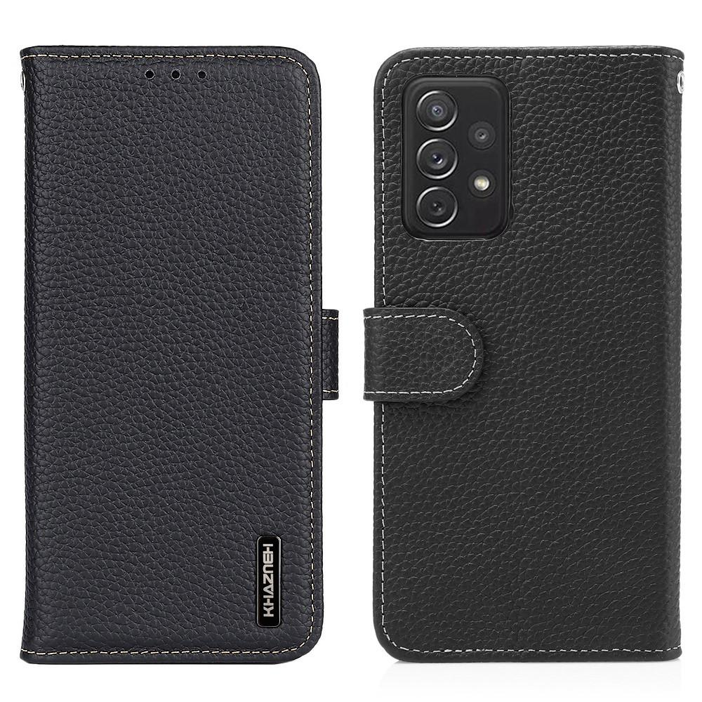 Real Leather Wallet Galaxy A72 5G Black