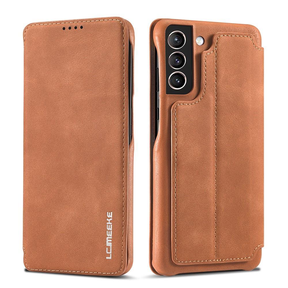 Slim Plånboksfodral Samsung Galaxy S21 Cognac