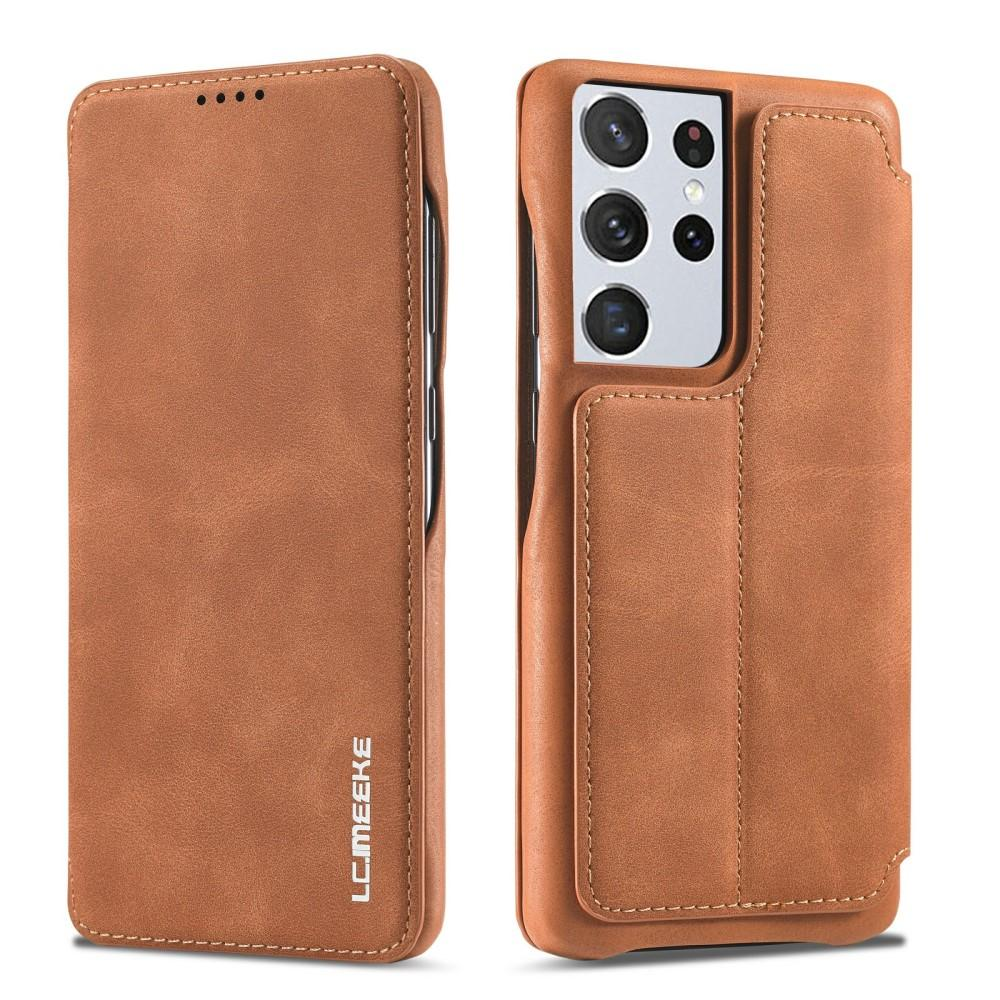 Slim Plånboksfodral Samsung Galaxy S21 Ultra Cognac