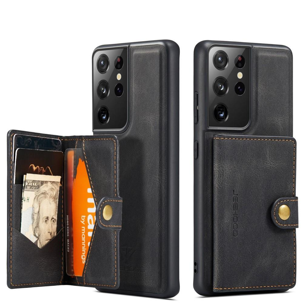 Magnetic Wallet Card Case Galaxy S21 Ultra Black