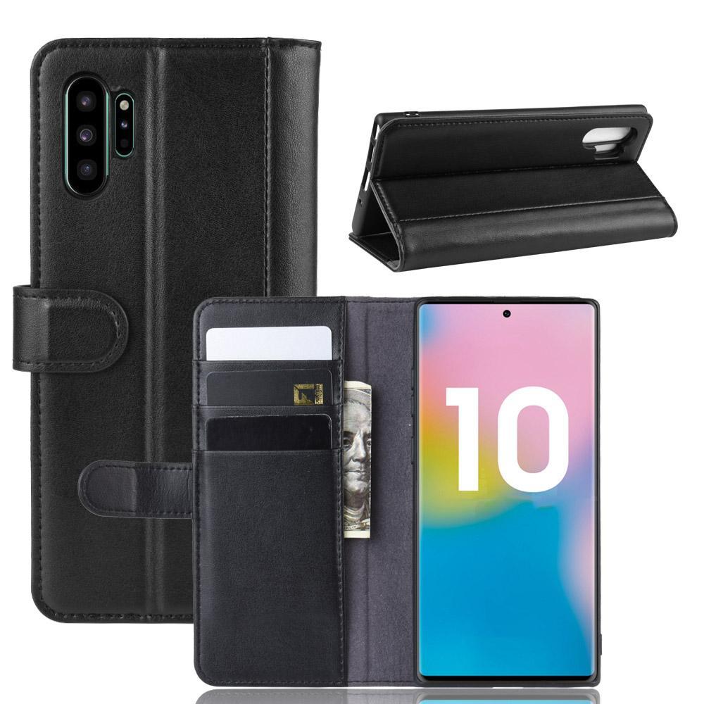 Äkta Läderfodral Galaxy Note 10 Plus svart