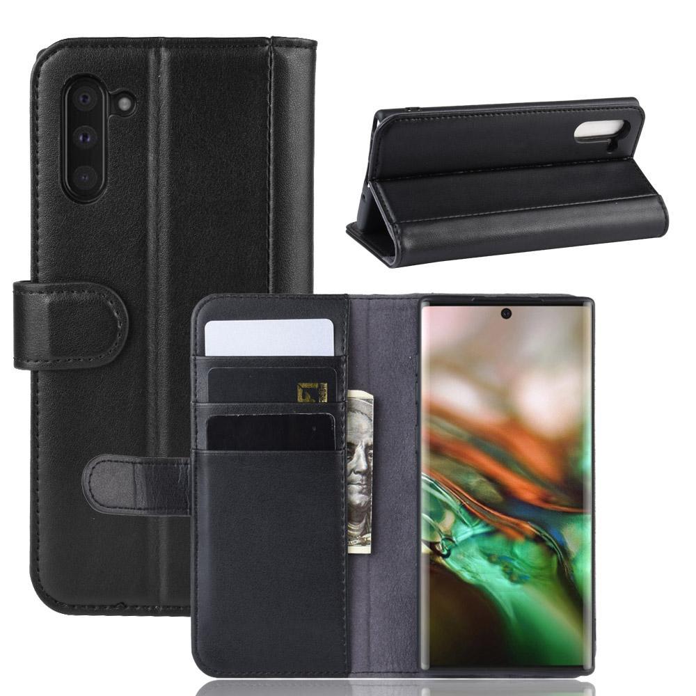 Äkta Läderfodral Galaxy Note 10 svart
