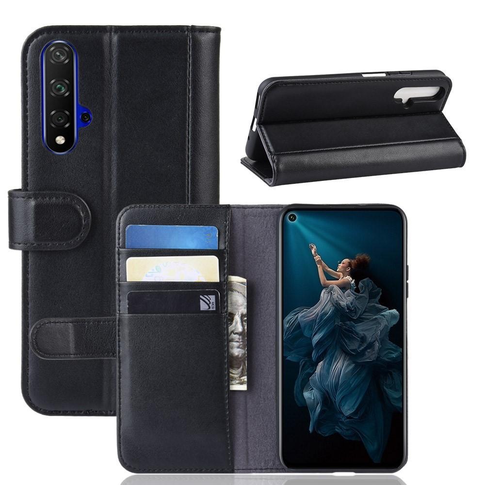 Äkta Läderfodral Huawei Nova 5T/Honor 20 svart