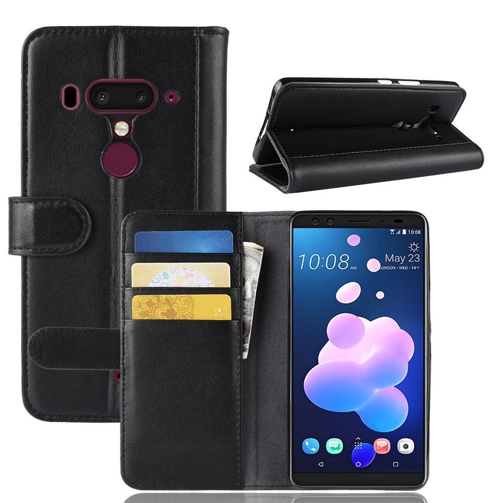 Äkta Läderfodral HTC U12+ svart