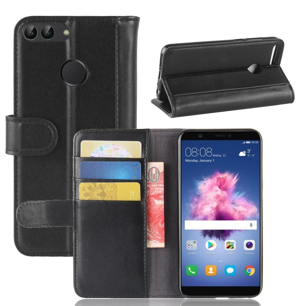 Äkta Läderfodral Huawei P Smart svart