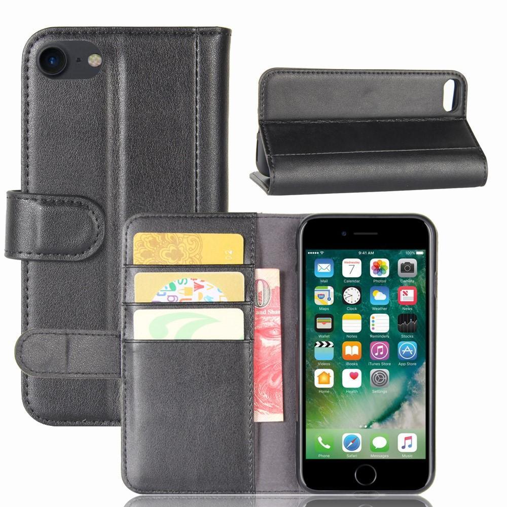 Äkta Läderfodral iPhone 7/8/SE 2020 svart