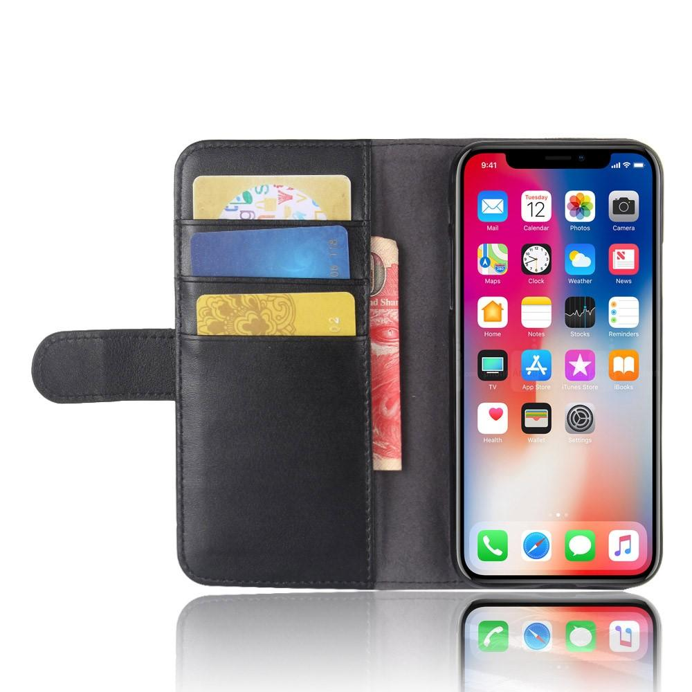 Äkta Läderfodral iPhone X/XS svart