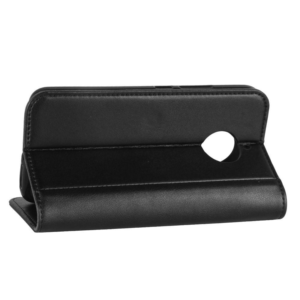 Äkta Läderfodral Moto E4 Plus svart