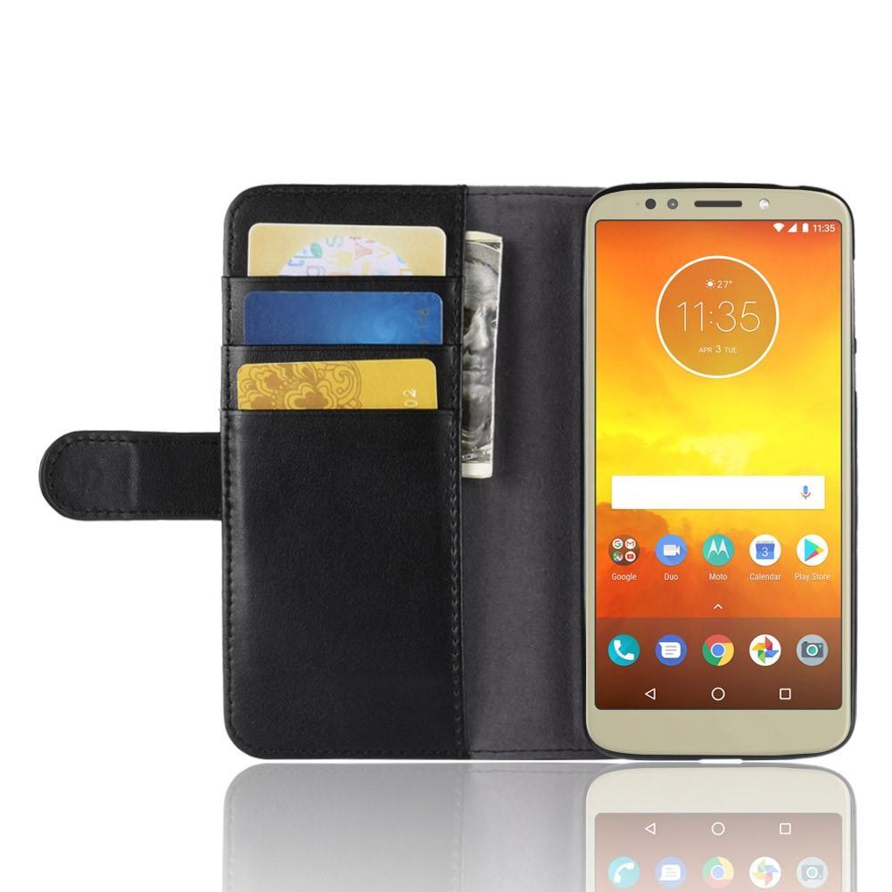 Äkta Läderfodral Motorola Moto E5/G6 Play svart