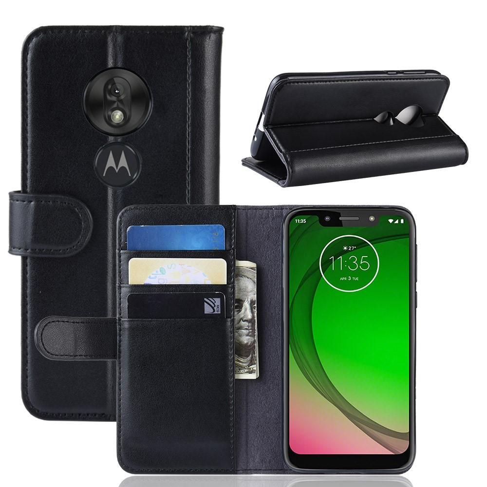 Äkta Läderfodral Motorola Moto G7 Play svart