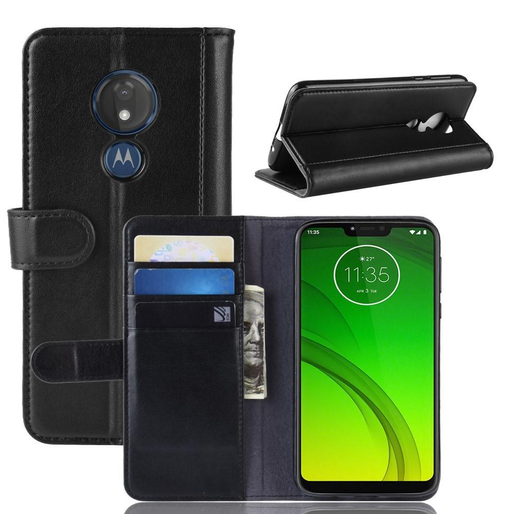 Äkta Läderfodral Motorola Moto G7 Power svart