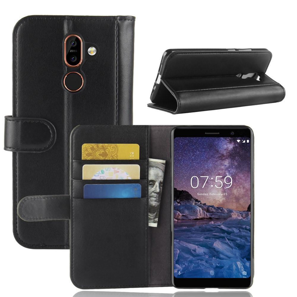 Äkta Läderfodral Nokia 7 Plus svart