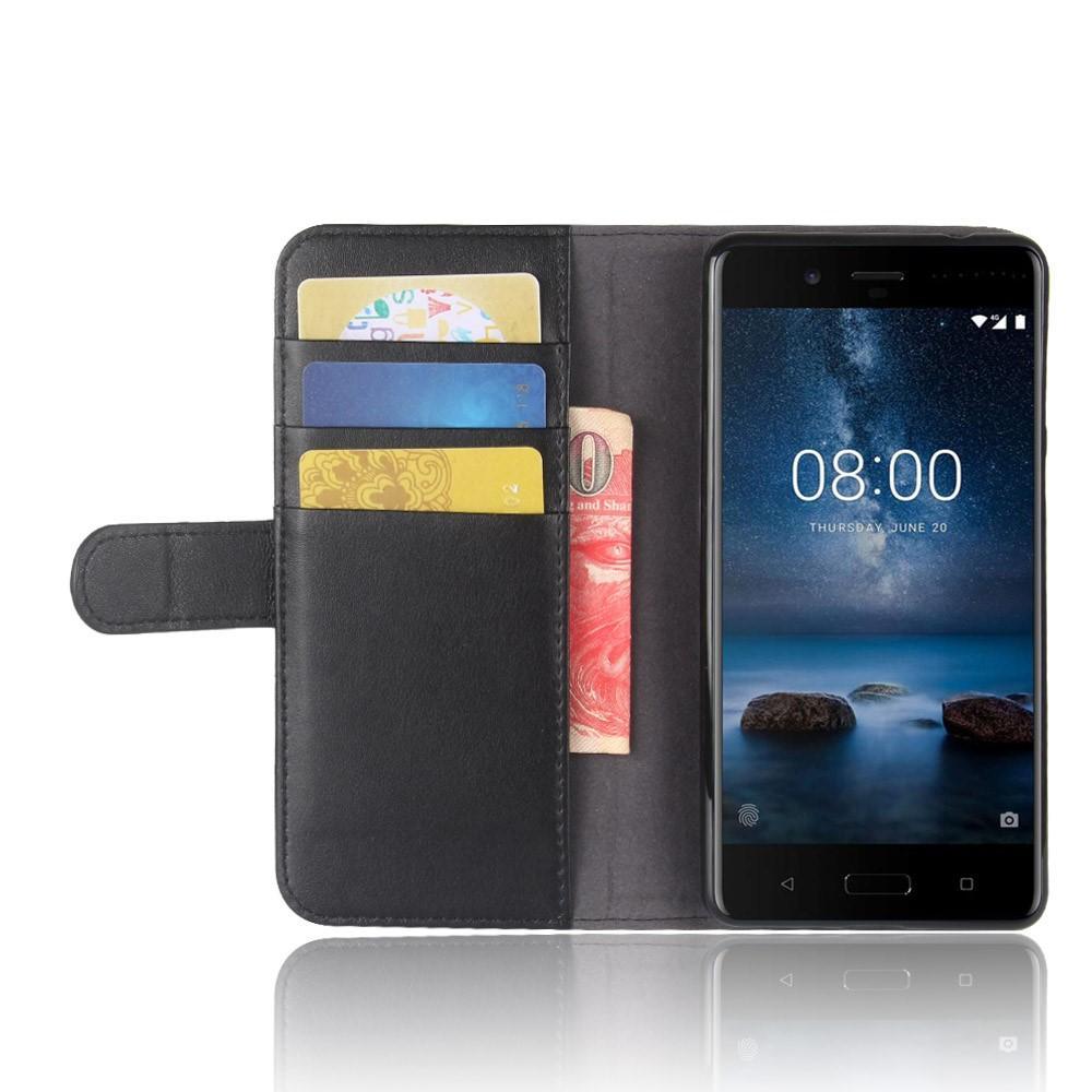 Äkta Läderfodral Nokia 8 svart