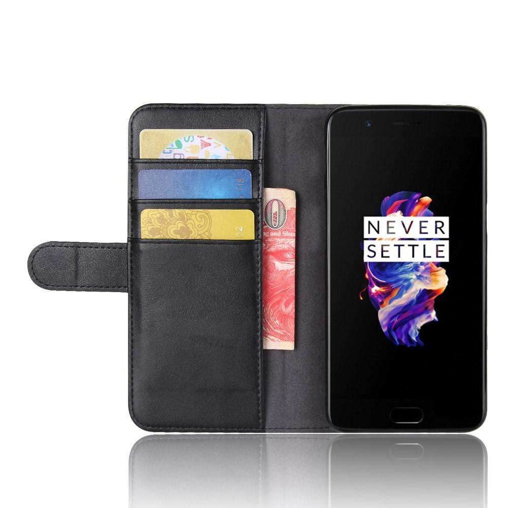 Äkta Läderfodral OnePlus 5 svart