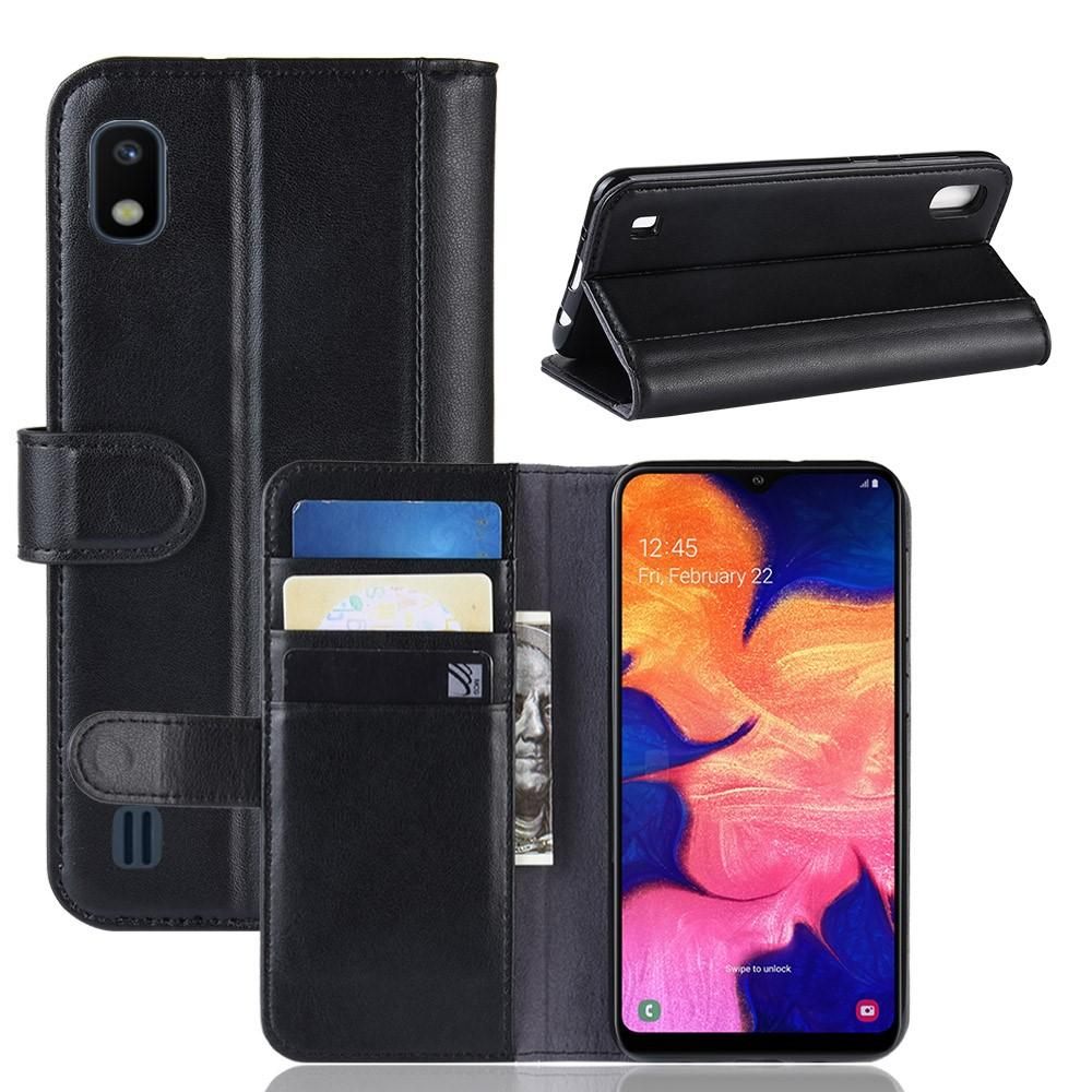 Äkta Läderfodral Samsung Galaxy A10 svart