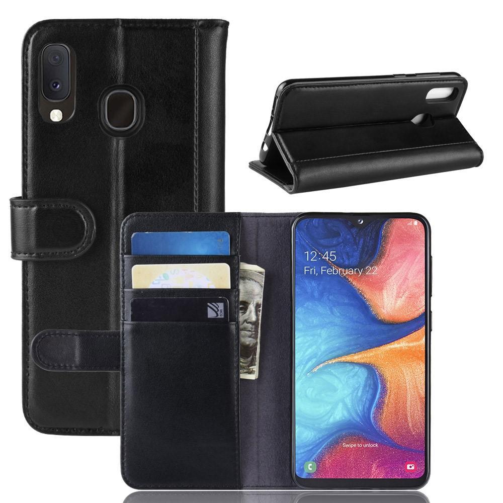 Äkta Läderfodral Samsung Galaxy A20e svart