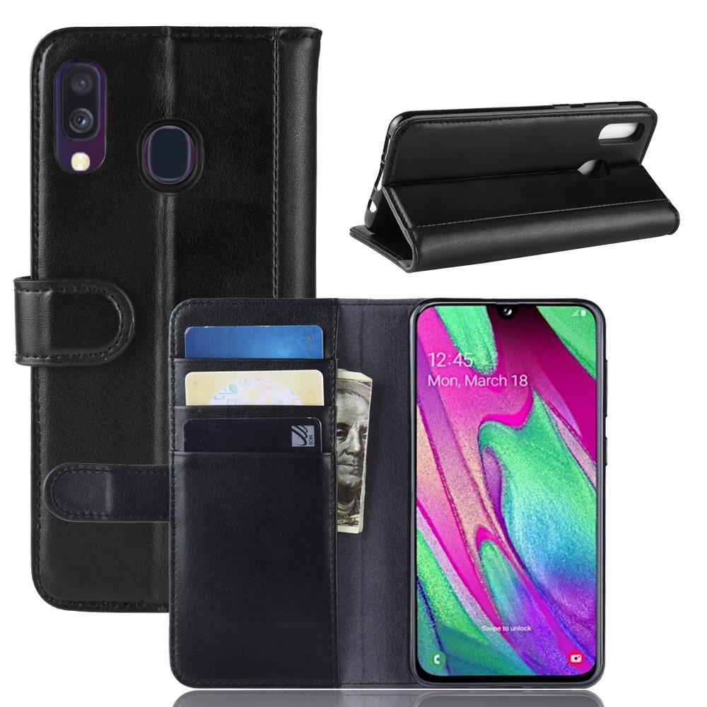 Äkta Läderfodral Samsung Galaxy A40 svart