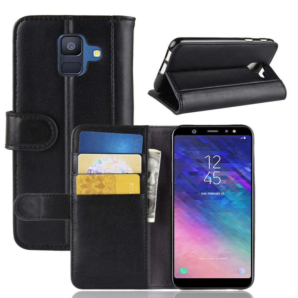 Äkta Läderfodral Samsung Galaxy A6 2018 svart