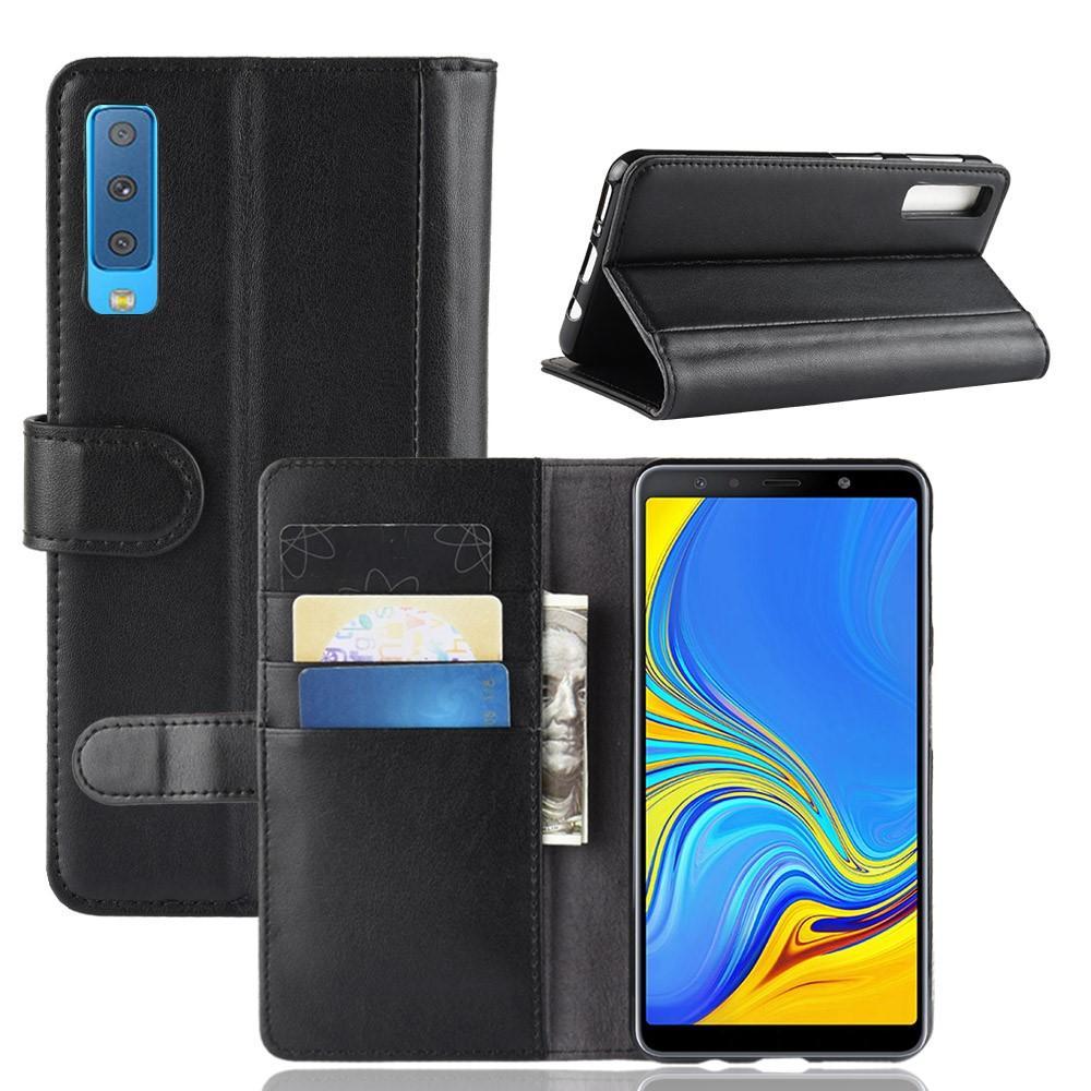 Äkta Läderfodral Samsung Galaxy A7 2018 svart