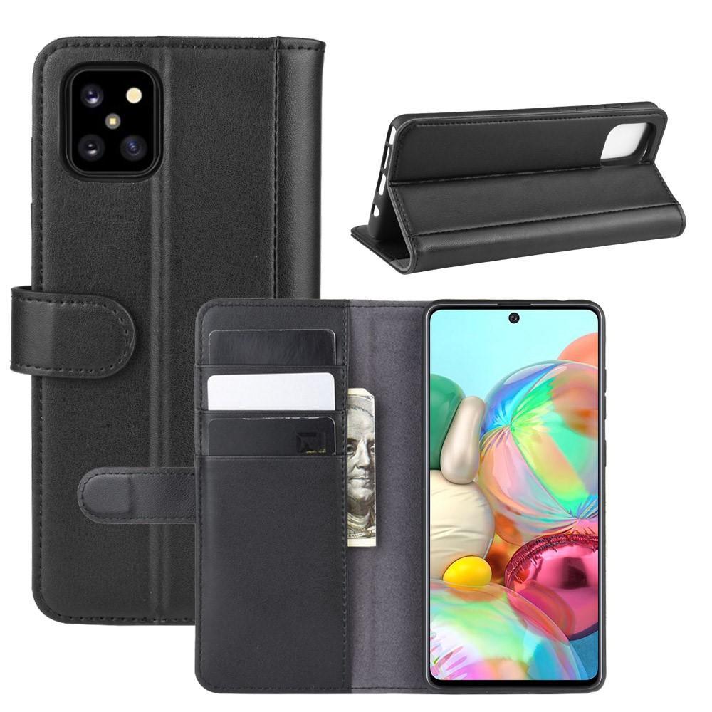 Äkta Läderfodral Samsung Galaxy Note 10 Lite svart