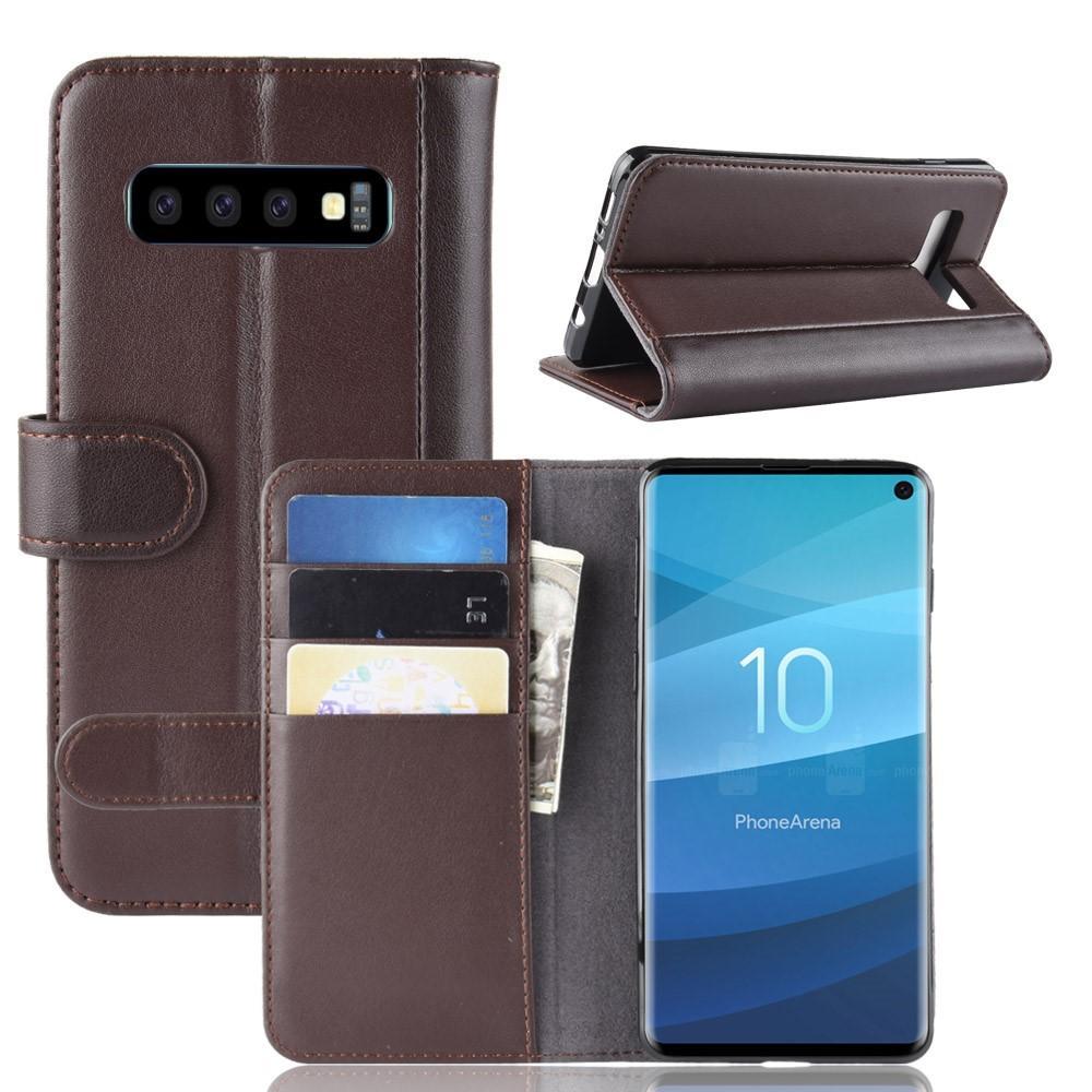 Äkta Läderfodral Samsung Galaxy S10 brun
