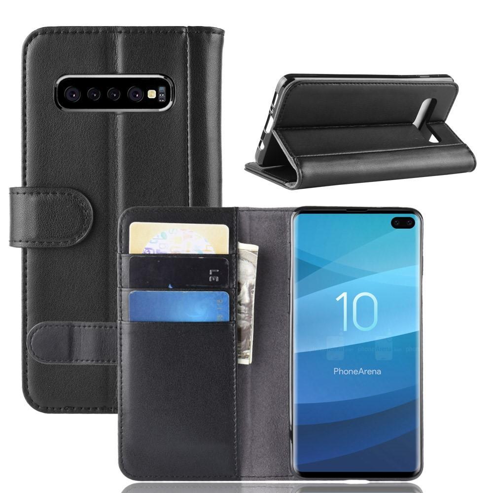 Äkta Läderfodral Samsung Galaxy S10 Plus svart