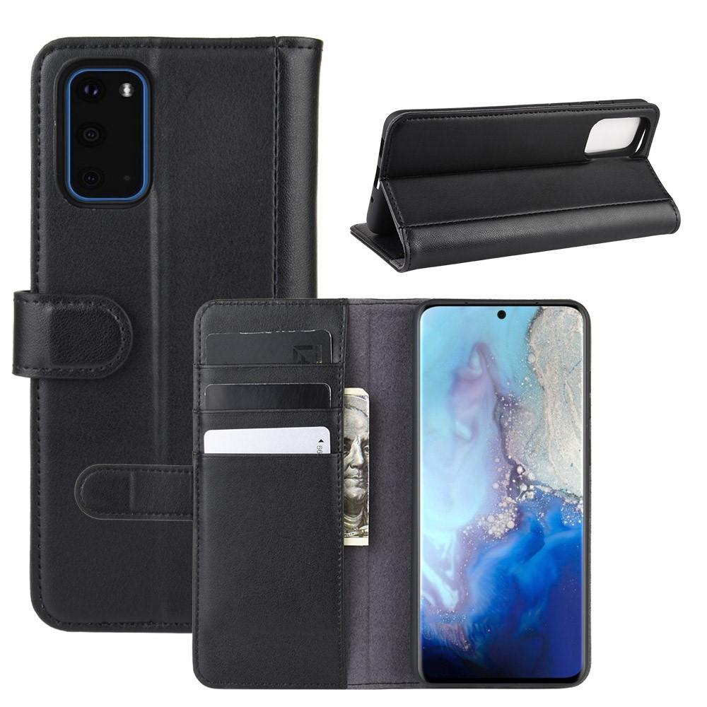 Äkta Läderfodral Samsung Galaxy S20 svart