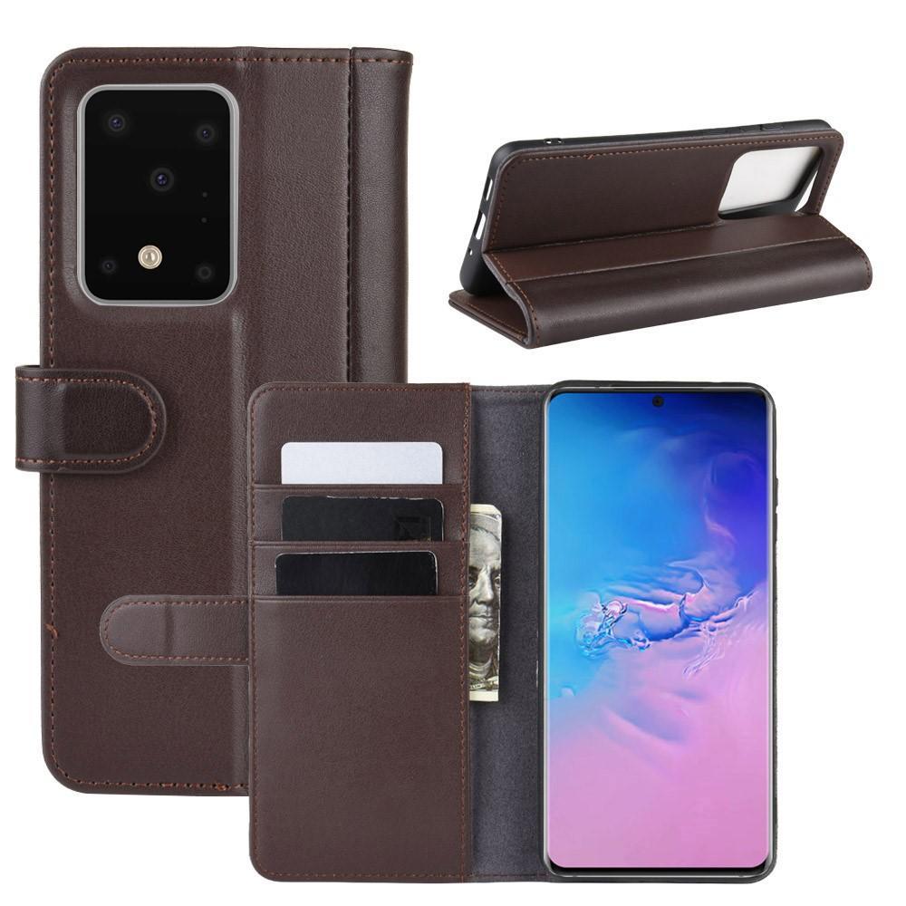 Äkta Läderfodral Samsung Galaxy S20 Ultra brun
