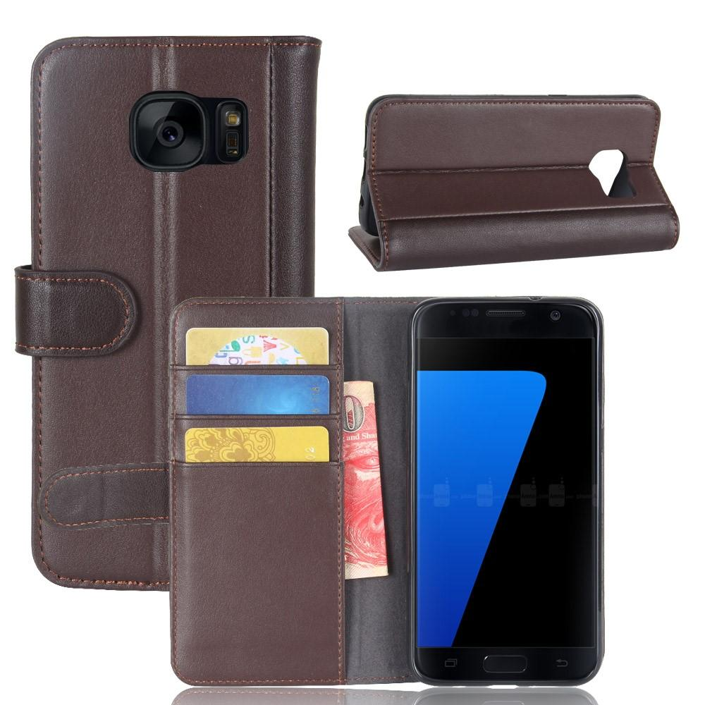 Äkta Läderfodral Samsung Galaxy S7 brun