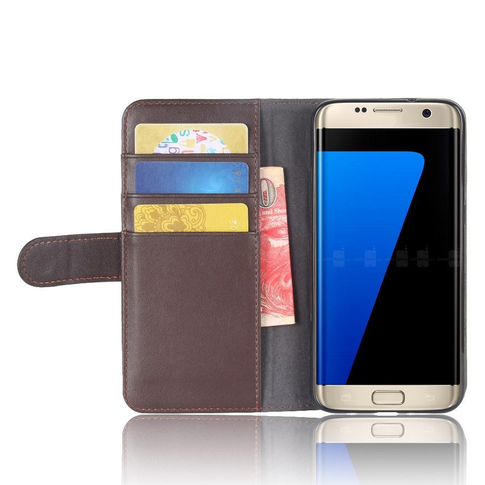 Äkta Läderfodral Samsung Galaxy S7 Edge brun