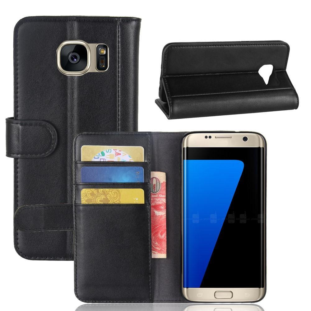 Äkta Läderfodral Samsung Galaxy S7 Edge svart