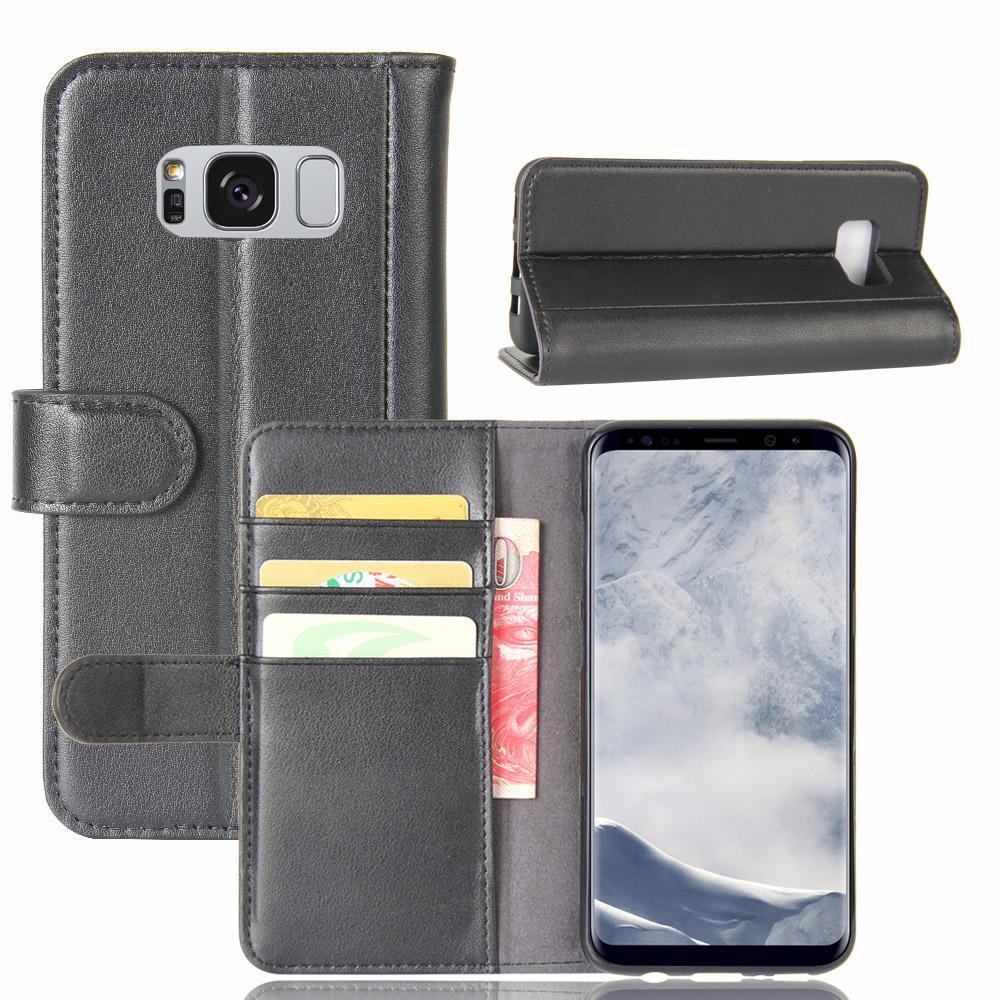 Äkta Läderfodral Samsung Galaxy S8 Plus svart