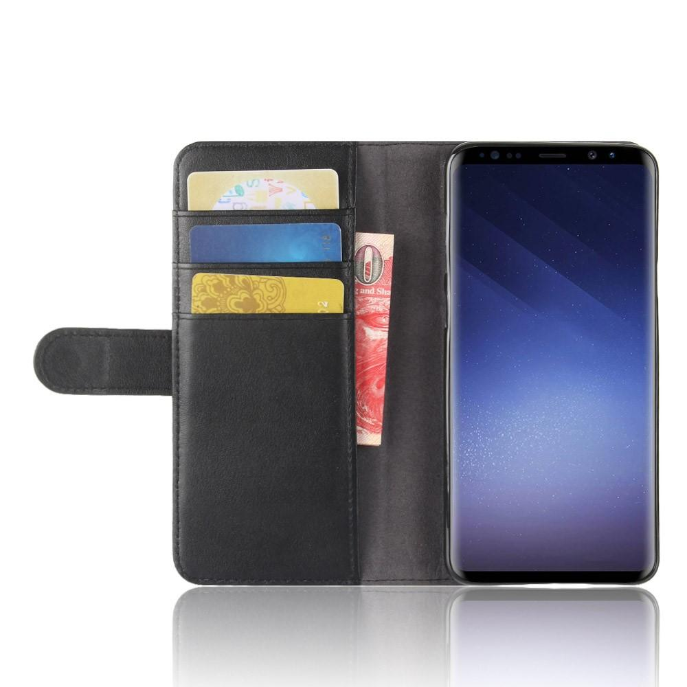 Äkta Läderfodral Samsung Galaxy S9 Plus svart